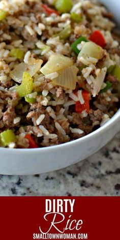 Dirty Rice An Easy One Pot Cajun Taste Sensation Rice Side Dishes, Best Side Dishes, Vegetable Side Dishes, Side Dish Recipes, Easy Dinner Recipes, Easy Meals, Southern Side Dishes, Breakfast Recipes, Dessert Recipes