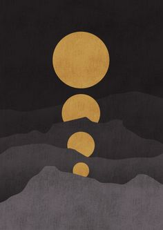 Rise of the golden moon Art Print by Picomodi | Society6