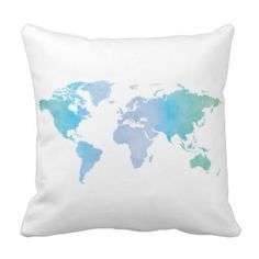 Watercolor Cool World Map Throw Pillows