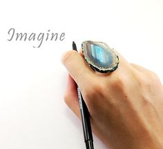 Agate ring - big blue agate geode ring gold ring adjustable druzy large handmade crystal jewelry by NatureLook, women fashion. $48.00, via Etsy.