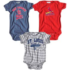 St. Louis Cardinals 3 Pack Boys Big League Baby Creeper Set by Soft as a Grape