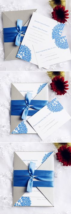 "Elegant Hydrangea Cobalt Blue Pocket Wedding Invitations with Free RSVP Cards//Use coupon code ""CVB"" to get 10% off towards all the invitations. #elegantweddinginvites"