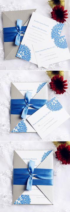 "Elegant Hydrangea Cobalt Blue Pocket Wedding Invitations with Free RSVP Cards//Use coupon code ""CVB"" to get 10% off towards all the invitations. #elegantweddinginvites"