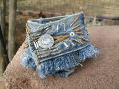 Beaded Denim Cuff Denim Bracelet Jeans by HorsetailsBeadwork, $18.00