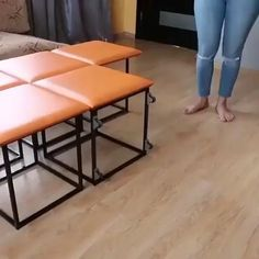 👍Multi functional Furniture - Five ottomans in one! Check out this multi functional furniture piece! It's aesthetic, space sav - Folding Furniture, Multifunctional Furniture, Smart Furniture, Space Saving Furniture, Metal Furniture, Home Decor Furniture, Modern Furniture, Furniture Design, Ottoman Furniture