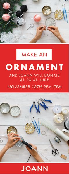 'Tis the season of giving and festive craft projects. See how the two combine by making a holiday ornament at JOANN stores November 18th! With each decoration made, a donation will be given to St. Jude Children's Research Hospital—who knew fun projects could be so powerful?! Get into the creative spirit and do your part to give back this Christmas by checking out this unique celebration.