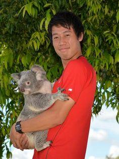 錦織圭が6日、コアラとの記念写真でにっこり。オーストラリアで行われているテニスのブリスベン国際に出場中で、撮影は大会会場の一角で行われた。(ゲッティ=共同) ▼6Jan2015共同通信|錦織圭、コアラ抱いてにっこり 試合の合間に記念撮影 http://www.47news.jp/PN/201501/PN2015010601001042.html #錦織圭 #Kei_Nishikori #锦织圭