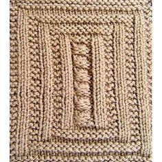 """Simple knits and purls frame a column of gentle pebbles. Mosaic designs with inlaid river rocks are often found the sidewalks of Mexico which inspired this design. in7 x 7"""" Square #13 of 20 for an afghan, laprobe, or as a single for a dishcloth"""
