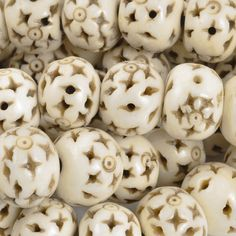 Carved-14mm Rondelle Bead With Star Design-Off White