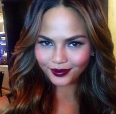 """#chrissy teigen, makeup by hung vanngo """"used ck one color foundation in 600, cream+powder blush in """"fun"""", volume mascara in black, lip liner in """"mistress"""", pure color lipstick in """"loud mouth"""""""