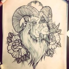 Illuminati Eye In Goat With Roses Tattoo Design Arlo Tattoo, Sheep Tattoo, Dibujos Tattoo, Desenho Tattoo, Head Tattoos, Rose Tattoos, Design Tattoo, Tattoo Designs, Tattoo Sketches