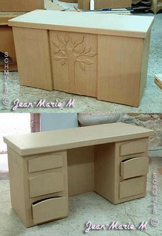 I like that they used cut out pieces of foam board or cardboard (or wood if this is made of wood) and glued them on. Then painted over with the same paint to add texture. Diy Cardboard Furniture, Paper Furniture, Cardboard Design, Furniture Making, Cardboard Cartons, Cardboard Paper, Cardboard Crafts, Carton Diy, Cardboard Organizer