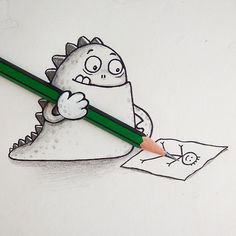 Tragon's very first time drawing =)   Toons in Real World - By: @maniknratan   #toonsinrealworld