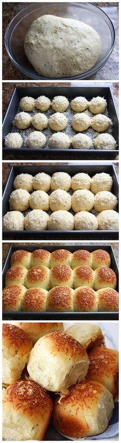 Garlic, Herb, and Cheese Bread Rolls Ingredients cup lukewarm water 1 cup warm milk – 2 tablespoons ol. Cheese Bread Rolls, Bread Recipes, Cooking Recipes, Herb Recipes, Cheese Recipes, Nigella, Love Food, Food And Drink, Favorite Recipes