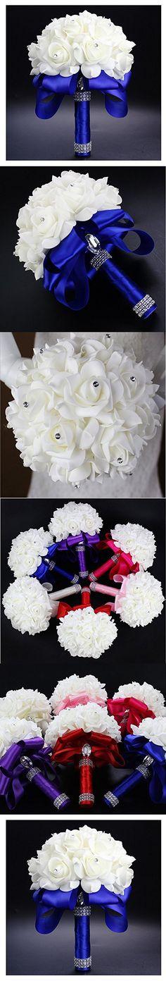 StillCool Still Royal-blue Crystal Pearl Silk Roses Bridal Bridesmaid Wedding Bouquet (18cm*24cm, Royal-blue)