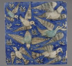 Revetment tiles 19th century Iran Fritware, moulded and painted underglaze decoration