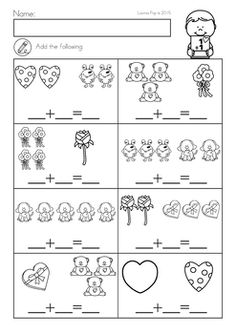 Kindergarten Valentine's Day Math and Literacy Worksheets & Activities No Prep. A page from the unit: addition to 10 Math Literacy, Kindergarten Math Worksheets, Preschool Math, Math Classroom, Fun Math, Teaching Math, Math Activities, Subtraction Worksheets, Teaching Resources