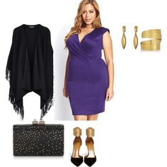 A fashion look from January 2015 featuring women plus size dresses, black leather cape and polka dot shoes. Browse and shop related looks.