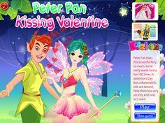 Peter Pan Kissing Valentine - Kiss Games Online - Dressup24h Kissing Games, More Games, Beautiful Fairies, Games For Girls, Online Games, Peter Pan, Valentines, Kids, Anime