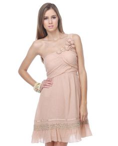Crochet Bouquet One Shoulder Blush Pink Dress