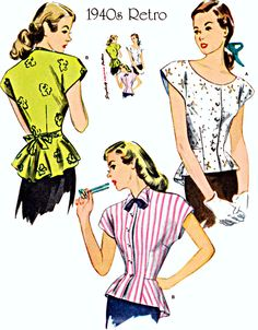 40s Tie Back Blouse with Peplum and Collar Options, Size 16-18-20-22-24, Bust 38-40-42-44-46, 1940 Reissue, Simplicity Sewing Pattern 1590 by TheGrannySquared on Etsy