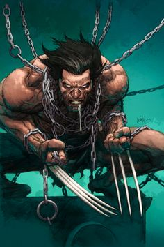 Wolverine, chained, bound, male bondage, shirtless, hairy, sexy comics, feral