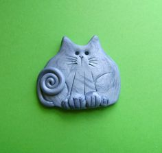 Silver Serious Cat Brooch  Fimo Polymer Clay by Coloraudia on Etsy, $10.00
