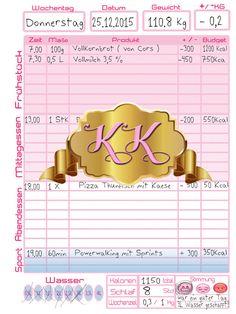 """Filofax Ernährungstagebuch a5 """"variable Edition""""  von KrissKawaii auf DaWanda.com  Für diejenigen die es süss und funktional mögen!^^"""