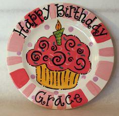 Custom Pink Cupcake Birthday Plate