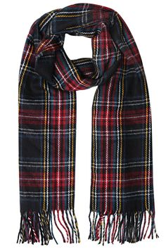 Yoursclothing Womens Plus Size Multi Tartan Soft Brushed Scarf With Fringing Black