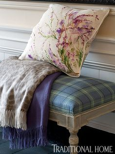 """The Isle Mill's """"Taransay Blue"""" on the """"Talmont"""" bench from Taillardat. Cashmere throws from Begg of Scotland, pillow from Johnstons of Elgin. - Traditional Home ® / Photo: Dominic Blackmore"""