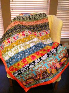 Strip quilt for my college bound baby.