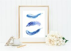 Boho Feather Print, Feather Watercolor Print, Tribal Feather Print, Feather Wall Decor, Boho Nursery Art, Blue Bathroom, Blue Office Print by EverAfterDesignShop on Etsy https://www.etsy.com/listing/457850764/boho-feather-print-feather-watercolor