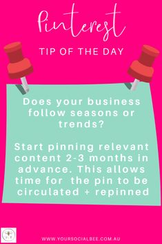 The best Pinterest strategies involve planning ahead for holidays, events and other special periods of the year. Start pinning your seasonal content 2-3 months in advance if possible. This ensures that your content has sufficient time to 'take off'. Follow my Pinterest Tip of the Day or subscribe to my list for more Pinterest tips and tricks Social Media Digital Marketing, Social Media Content, Content Marketing, Tips Instagram, Tip Of The Day, Pinterest Marketing, Holidays Events, 3 Months, Creative Business