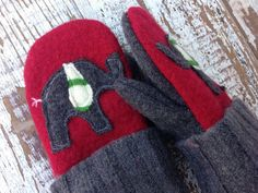 Felted Toddler Mittens Ellie Elephant-Red and by whimsiedots