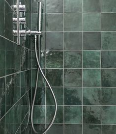 Emerald ceramic wall tiles suitable for wet areas such as showers and bathroom. Order your free samples online by visiting our website. Dark Green Aesthetic, Splashback Tiles, Slytherin Aesthetic, Dream House Interior, Flat Ideas, Ceramic Wall Tiles, Style Tile, Aesthetic Rooms, House Interiors