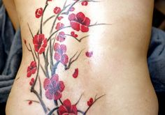red+cherry+blossom+tattoos | sweet bright red cherry flowers with flying petals on black branches ...
