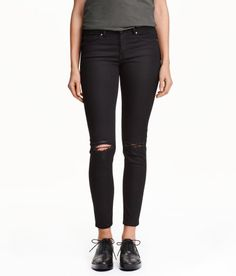 Check this out! 5-pocket jeans in washed stretch denim with heavily distressed details, a regular waist, and super-skinny, ankle-length legs. - Visit hm.com to see more.