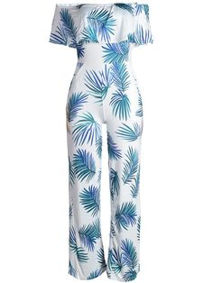 Fashionmia - Fashionmia Off Shoulder Flounce Leaf Printed Wide-Leg Jumpsuit - AdoreWe.com