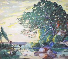 Paysage d'été (1921) - Marc-Aurèle Fortin Canadian Painters, Canadian Artists, Watercolor Landscape, Landscape Paintings, Watercolour, Artist Painting, Painting & Drawing, Art Vert, Montreal Museums