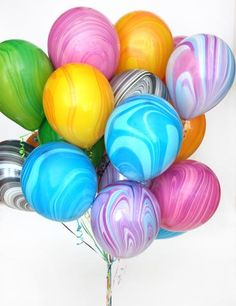 Fun Rainbow Marble Balloons pack Pack of 12 Marble balloons 2 pink 2 yellow 2 princess 2 blue 2 green 2 black & white PRODUCT DETAILS — Balloon is packaged in a bag and not inflated Marble Balloons, Latex Balloons, 11th Birthday, Birthday Parties, Bowie Birthday, Balloon Columns, Quinceanera Party, Party In A Box, Balloon Bouquet