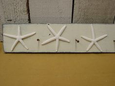 WHITE FINGERLING STARFISH peg rack with rusty by SophiesCottage, $29.95
