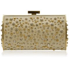 ELIE SAAB Structured Leather And Crystal Clutch ❤ liked on Polyvore