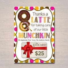 Editable Thanks A Latte Coffee Donut Gift Card Holder Printable Teacher Appreciation Daycare Teacher