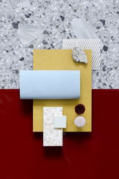 Material Mood Of The Week ~ Waterborn Blue & Dark Red #innovusmdf #kvadrattextiles #coveringsetc #terrazzo #interior #design #interiordesign #architecture #layering #materialmood #materials #inspiration #studiodavidthulstrup