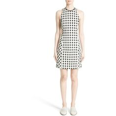 Women's Rag & Bone Tahoe Gingham Dress ($550) ❤ liked on Polyvore featuring dresses, white cutout dresses, rag bone dress, white dress, geometric dress and white sheath dress
