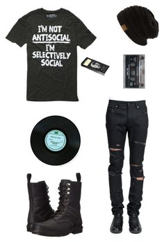 """""""Untitled"""" by xxemoxbutterflyxx ❤ liked on Polyvore featuring Yves Saint Laurent, Dr. Martens, D.L. & Co., men's fashion and menswear"""