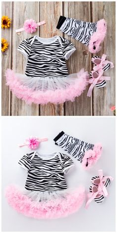 Zebra Pattern Short Sleeves Romper Skirt and Headband Shoes 4 Pcs Set in Pink Toddler Boy Gifts, Toddler Girls, Baby Hair Bands, Mommys Girl, Romper With Skirt, Cute Toddlers, Home Outfit, Baby Shop, Baby Dress