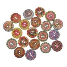 Souarts Random Mixed Flower Pattern Printed Round 2 Holes Wood Wooden Buttons 20mm Pack of 100pcs *** Visit the image link more details.