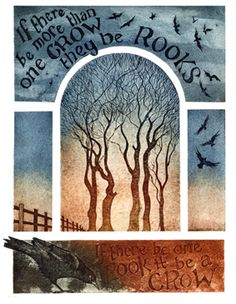 'If there be more than one Crow they be Rooks' collagraph print  by Kerry Buck